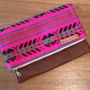 Hot pink Aztec tribal fabric clutch